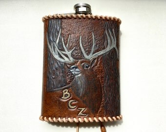 Custom made tooled leather flasks with lacing - hand tooled - gift forever