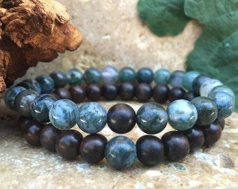 Couples Bracelets - Komagong Wood & Moss Agate - Gemstone His Hers Bracelets - Matching Bracelets