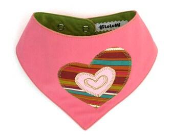 Pink Heart Patch Bib – Handmade Limited Edition Upcycled Fabric Baby Bib - Bib #11