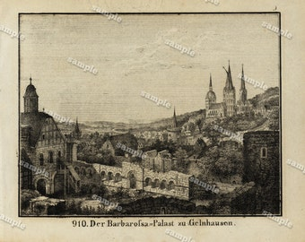 1830 Original Antique Engraving of View of The Barbarofsa palace at Gelnhausen Black and white- architecture- landscape view