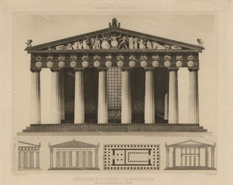 Antique Original Prints of Architectural Elements From Fragments D'Architecture 1905 D'Espouy Athens