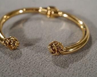 Vintage Yellow Gold Tone Cuff Bangle Style Bracelet Hinged Design