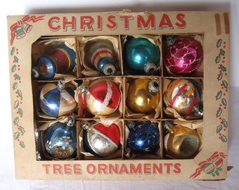 12 Vintage Glass Christmas Ornaments in Box