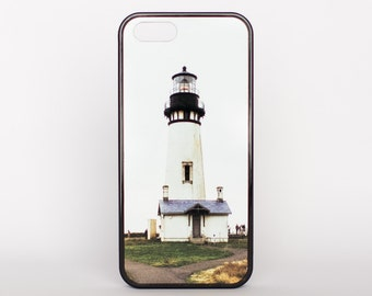 Yaquina Head Lighthouse in Oregon by Adventure Case for iPhone 5, 5s, 6, 6 plus, 6s, 6s plus, SE offered as a white or black rubber case