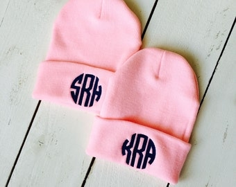 MONOGRAM Beanie Embroidered Slouchy Hat Custom Name Beanie SET OF 2