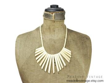 Vintage Bone Bib Necklace, Bone Bead Bib Necklace, White Bib Necklace, White Bead Necklace, White Fringe Necklace