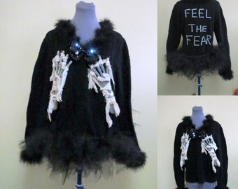 Sexy Halloween Sweater Skeleton Hand Sweater Black Feather Womens Sz XL Halloween Costume, Feel the Fear, Funny Sweater, Black Tutu,