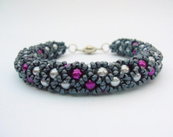 Beaded Bracelet Silver, Pink, Charcoal