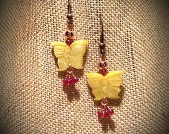 Bright Yellow Mother of Pearl Shell Butterfly Earrings with Strawberry Red Iridescent Finished Bead Clusters Young Adult Butterfly Earrings