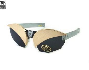 Hi Tek Alexander vintage oblong metal sport aviator cosplay sunglasses