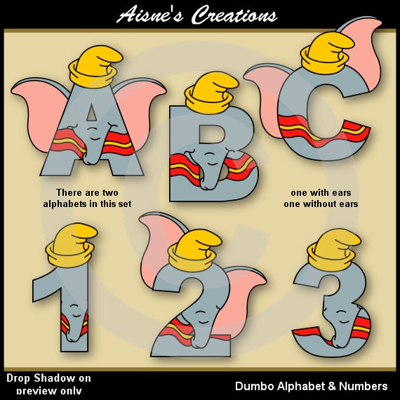 Dumbo Alphabet Letters & Numbers Clip Art Graphics