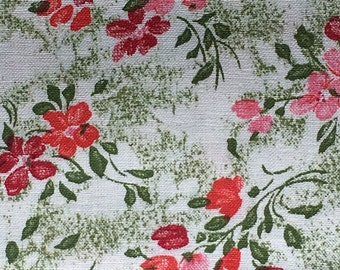 "Vintage Pink and Green Floral Print Fabric // 3 yards long, 35"" wide > crispy cotton, unused"