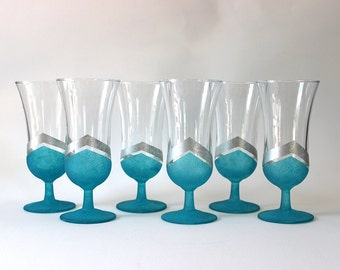 Teal & Silver Cordial Glasses - Hand Painted | Glassware, Glass Painting, Handmade, Liqueur, Wedding, Housewarming, Gift Idea, Graphic