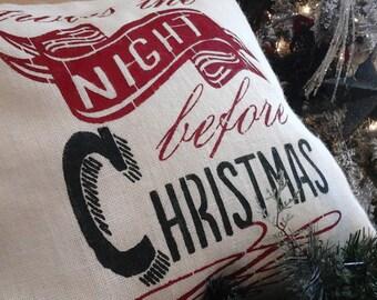 White Burlap|Christmas Pillow Cover|Twas The Night before Christmas Pillow| Natural Upholstery Grade Burlap Sham