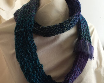 Purple/Green Infinity Knitted Scarf