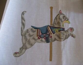 Vintage Needlepoint Canvas, Hand Painted Dentzel Cat