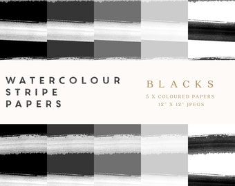 """Watercolour Stripes Digital Papers - Black Hues - 12""""x12"""" printable, commercial use"""