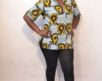 Clearance - Kazi Shirt - Plus Size African Print Shirt
