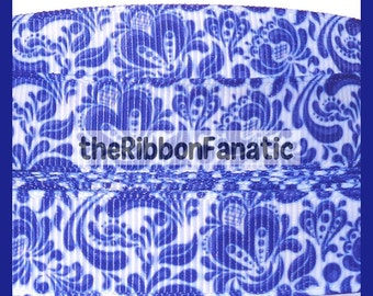 "5 yds 5/8"" China Blue Delft Grosgrain Ribbon"