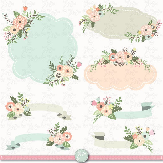 Wedding Clip Art. Wedding Floral. Floral Banner. Floral