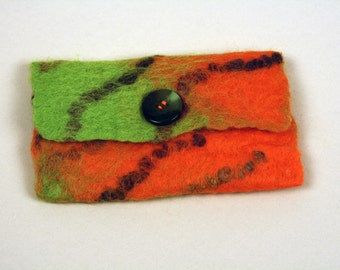 Felted coin purse, lime green, bright orange wools