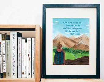 PRINT of original art - New Adventures - Backpacking - Tavels - Graduation - print of a gouache painting