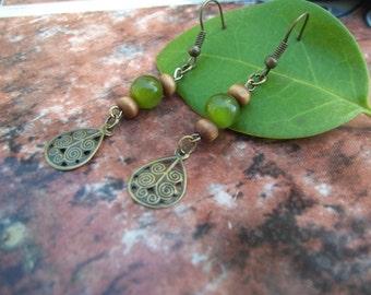 Green Beaded Dangle Earrings