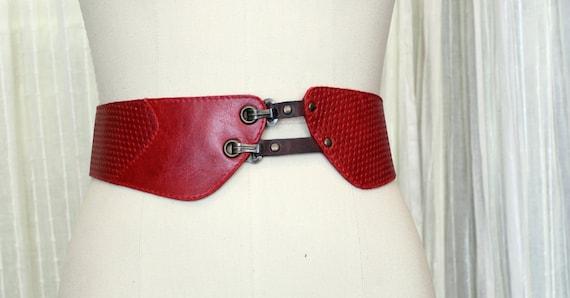 SALE - PARIS BERLIN - tall leather belt for waist, for women - red