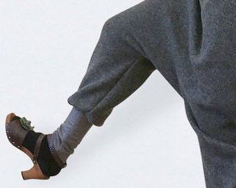 Grey wool  harempants made of a knitted fabric, wool bloomers, sarouel femme , autumn winter, relaxed pants,warm pants, lounge pants