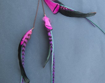 Pink/Black/Blue Single Feather Earring