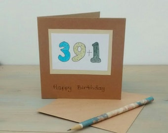 40th Birthday Card - 40 - 40th Birthday - Teacher Card - Numbers - Hand Painted - Spots
