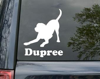 "Labrador Retriever Dog Vinyl Decal Sticker w/ Custom Personalized Name 5.5"" x 4.5"" playful *Free Shipping*"