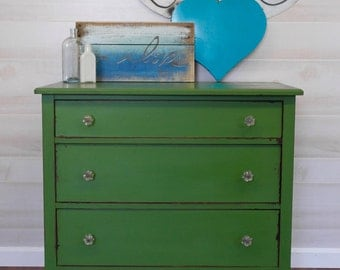 Vintage-Chippy-Green-Dresser with glass knobs