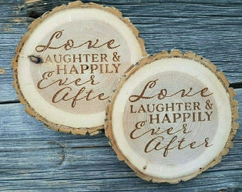 Love and Laughter Coaster set - Set of 4 Natural Wood Coaster with bark - Wedding Gift - Housewarming GIft