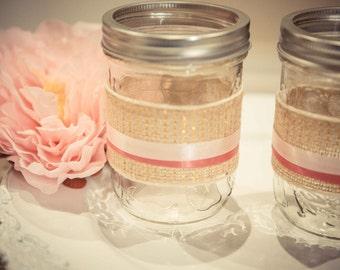 Glitter Burlap Pink Mason Jars (Set of 2)