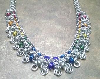 Rondo a la Byzantine Rainbow Chainmaille Statement Necklace