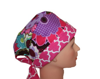 Scrub Hat Surgical Scrub Cap Chemo Hat Flirty Front Fold Pixie Purple Blue Brown Pink Floral Quatrefoil 2nd Item Ships FREE