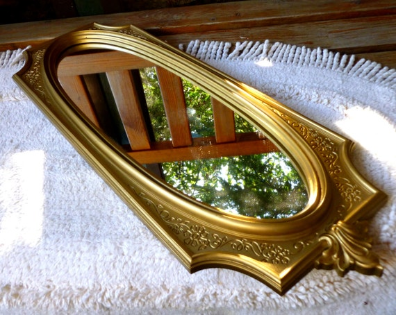 Syroco wall mirror usa gold long thin oval faux wood polymar for Long thin wall mirror