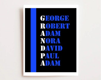 Police Officer Grandpa Printable - Grandfather Printable - Law Enforcement - Thin Blue Line - Cop Gift - Police Officer Printable - LEO Gift