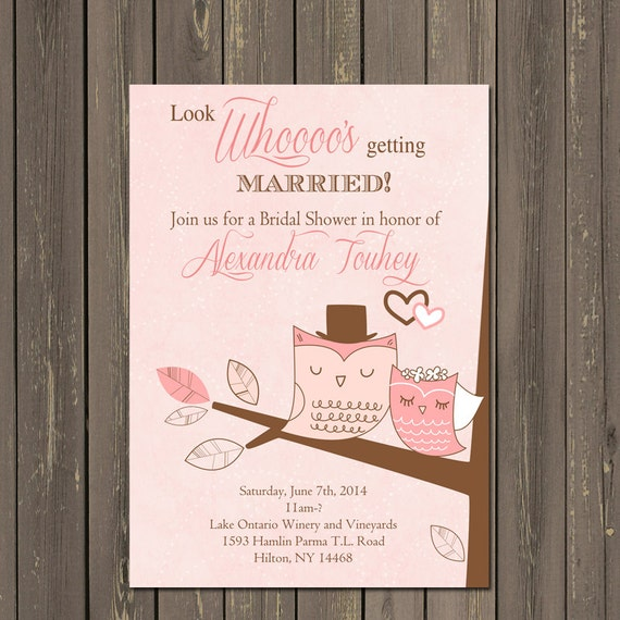 Owl Bridal Shower Invitation, Owl Couple Wedding Shower