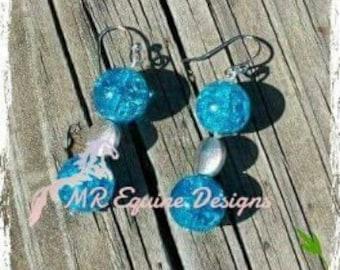 CLEARANCE ITEM - Blue & Silver Beaded Earrings
