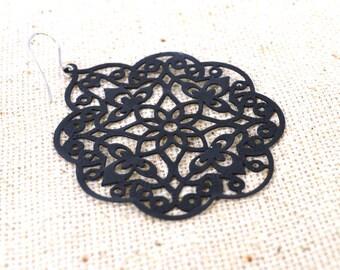 Black Filigree stencil earrings.
