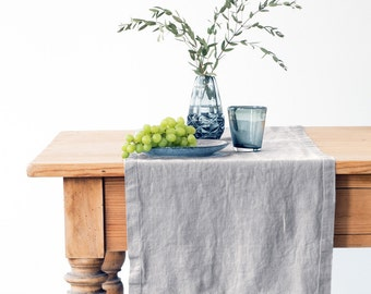 Light Grey Stone Washed Linen Runner
