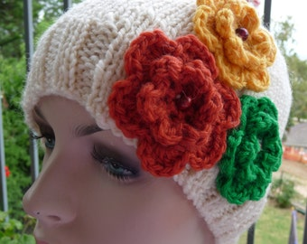 Handspun Pure Wool Flower Hat  -  1302