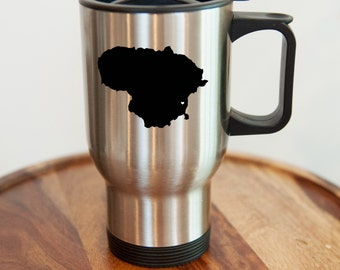 Lithuania Stainless Steel Travel Mug.  Adoption, Travel, Mission, Custom