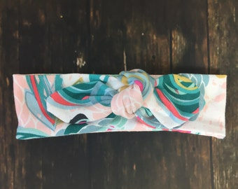 Sprayed blooms top knot headband