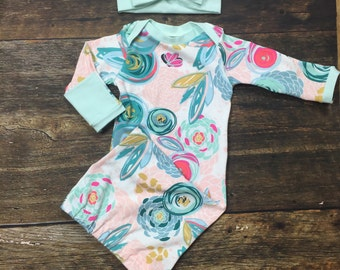 Newborn Girl Coming Home Outfit, Newborn Bloom layette baby gown with mint trim