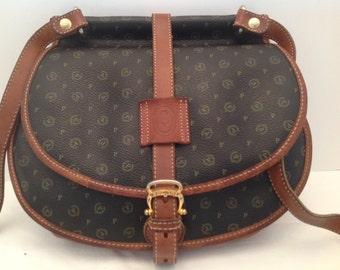 VINTAGE POLLINI 07-06-93 Monogram small Leather Italian Crossbody Handbag
