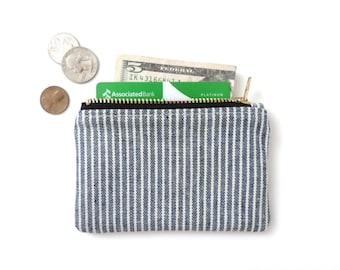Wallet Coin Purse Zipper Pouch Blue Stripe
