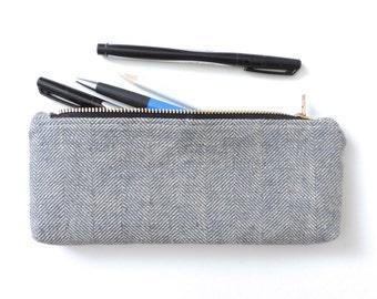 Herringbone Pencil Case Zipper Pencil Pouch Blue